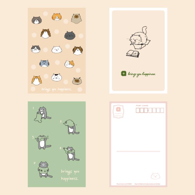 SHIKKAの猫のイラストのポストカード。