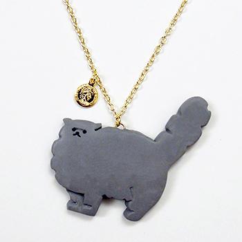 SHIKKAのネックレス・ペルシャ猫グレー。